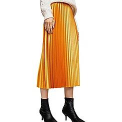 Mango - Metallic yellow 'Tempted' midi pleated skirt