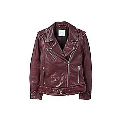Mango - Dark red leather 'Cherry' biker jacket