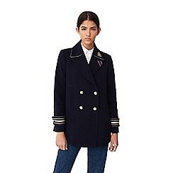 Mango - Navy 'Capitana' military style coat