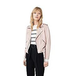 Mango - Pink 'Seul' biker jacket