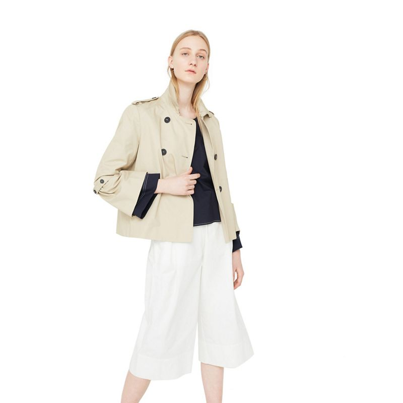 Mango Brown Taba cotton short trench coat
