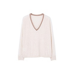 Mango - Beige 'Elegant' metallic trim sweater