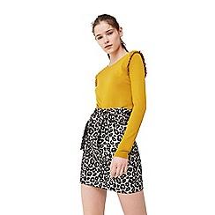 Mango - Yellow 'Ruffle' sweater