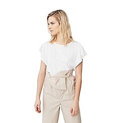 Mango - White 'Mena' ruffle sleeve t-shirt
