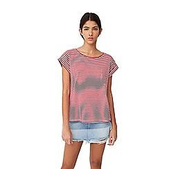 Mango - Red 'Brula' stripe print t-shirt