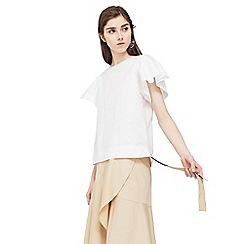 Mango - White 'Mare' frilled sleeve blouse