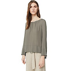 Mango - Khaki 'Cota' drop shoulder blouse