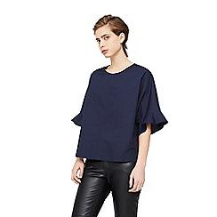 Mango - Navy 'Volan' ruffle sleeve blouse