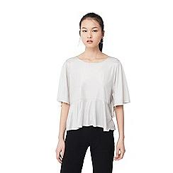 Mango - Silver 'Vaniz' drop shoulder t-shirt