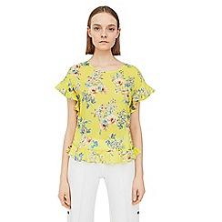 Mango - Yellow 'Tutu' floral print top