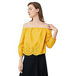 Mango - Yellow embroidered drop shoulder top