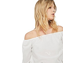 Mango - White embroidered drop shoulder top