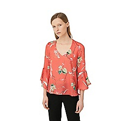 Mango - Coral 'Lante' ruffled sleeve top