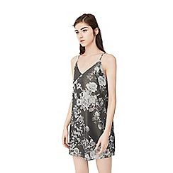 Mango - Grey 'Lurex' floral print dress
