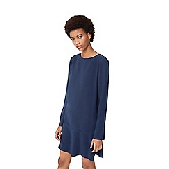 Mango - Navy 'Alexa' fluted hem dress