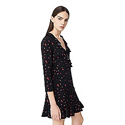 Mango - Red 'Flowers' frilled dress