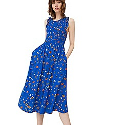 Mango - Blue 'Cenefa' honeycomb pattern dress