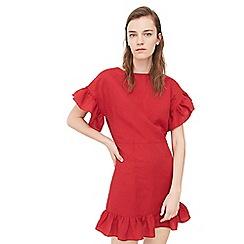 Mango - Red ruffled linen dress