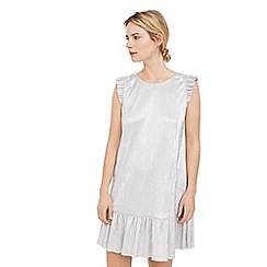 Mango - Grey 'Shine' metallic pleated dress