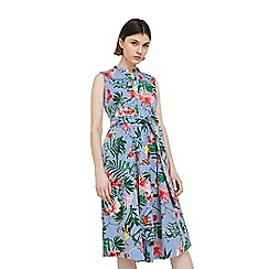 Mango - Blue 'Raya' floral and stripe print dress