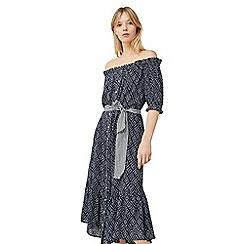 Mango - Blue 'Mumbai' printed drop shoulder dress
