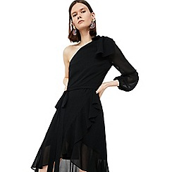 Mango - Black 'Pony' asymmetrical ruffle dress