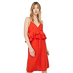 Mango - Red 'Rust' ruffled dress