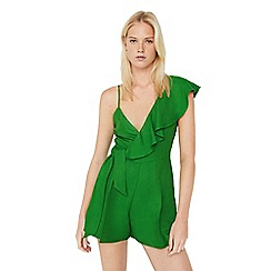 Mango - Green 'Ava' frilled sleeves playsuit