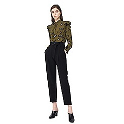 Mango - Black 'Manuel' belted cropped trousers