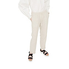 Mango - Natural linen baggy trousers