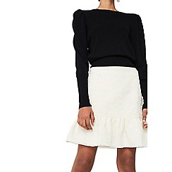 Mango - White 'Fleky' fluted hem skirt