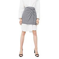 Mango - Black 'Drap' check print skirt