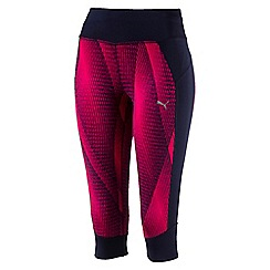 Puma - Women's Bright pink and navy 3/4 tights