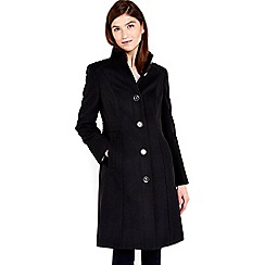 Wallis - Black funnel neck coat