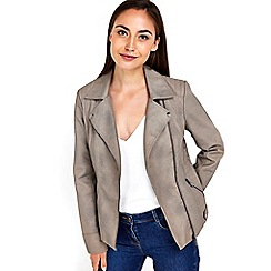 Wallis - Mink asymmetric biker jacket
