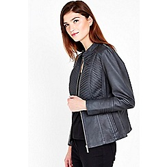 Wallis - Dark grey faux leather jacket