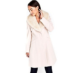 Wallis - Nude fur collar coat
