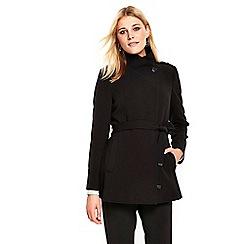 Wallis - Debenhams Exclusive- black short wrap belted coat