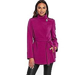 Wallis - Debenhams Exclusive- violet short wrap belted coat