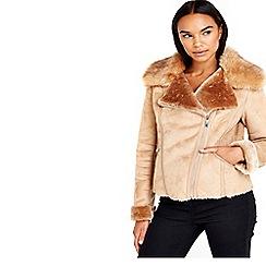 Wallis - Stone short shearling jacket
