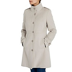Wallis - Stone military funnel coat