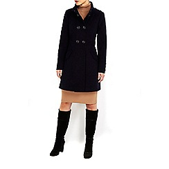 Wallis - Navy faux wool military funnel coat