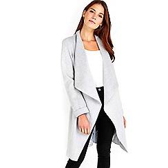 Wallis - Silver long sleeve waterfall coat