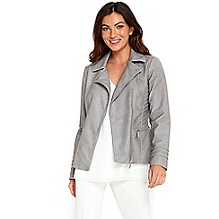Wallis - Grey zipped pocket biker jacket