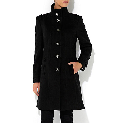 Wallis - Black pintuck funnel coat