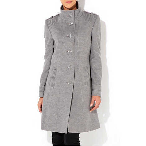 Wallis - Grey pintuck funnel coat