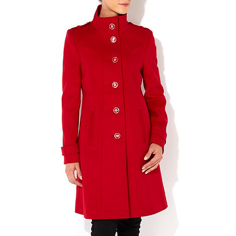 Wallis - Red pintuck funnel coat