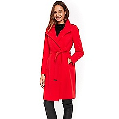 Wallis - Red wrap belted duster coat