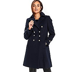 Wallis - Navy faux wool military coat