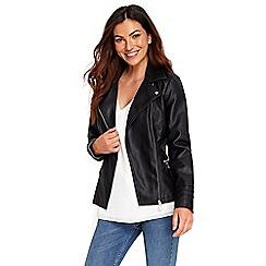 Wallis - Black zipped pocket biker jacket